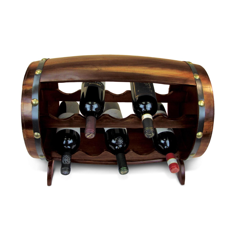 Puzzled Napoleon Wooden Barrel-shaped 10-bottle Wine Rack...