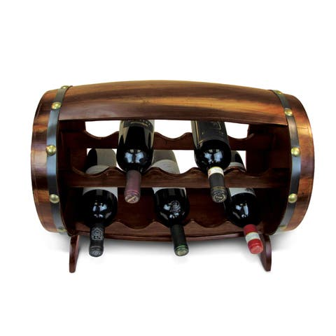 Napoleon Wooden Barrel-shaped 10-bottle Wine Rack