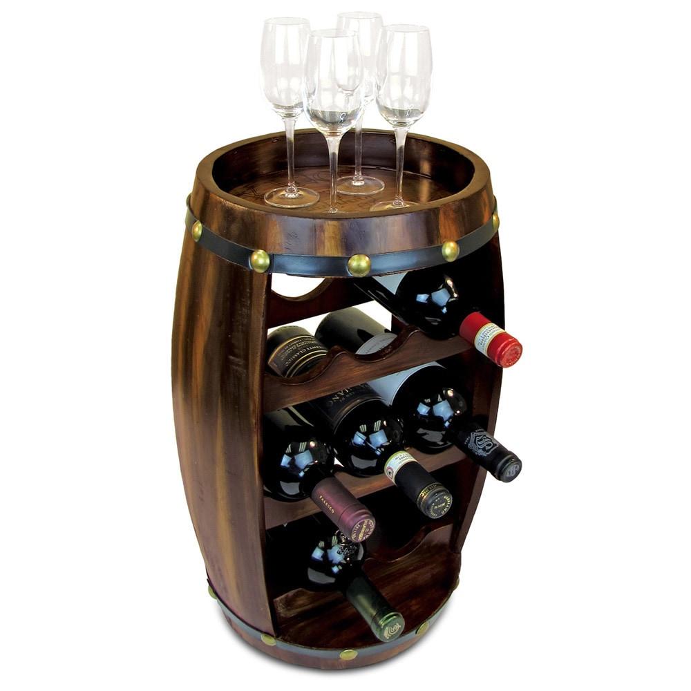Wine Rack Holder Storage 14 Bottle Wooden Barrel Shaped Decorative Kitchen Brown
