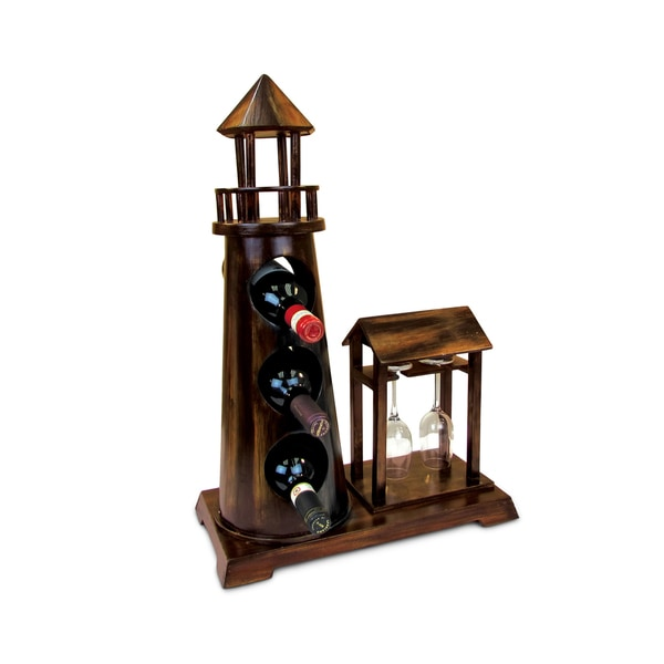 Puzzled Inc. Caesar Wooden 3 Bottle Wine Rack with 2 Wine Glass Holder