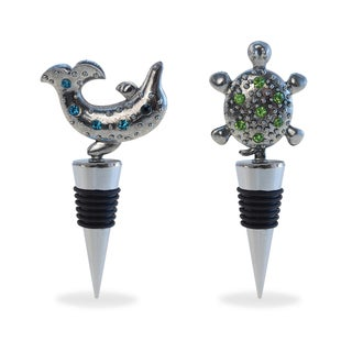 Puzzled Inc. Sea Turtle and Dolphin Metal and Rhinestones Wine Stoppers (Set of 2)