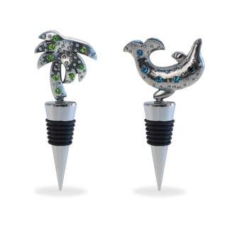 Metal Dolphin and Palm Tree Wine Stopper