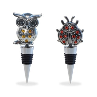 Puzzled Inc Multicolor Metal Ladybug and Owl Wine Stopper (Set of 2)