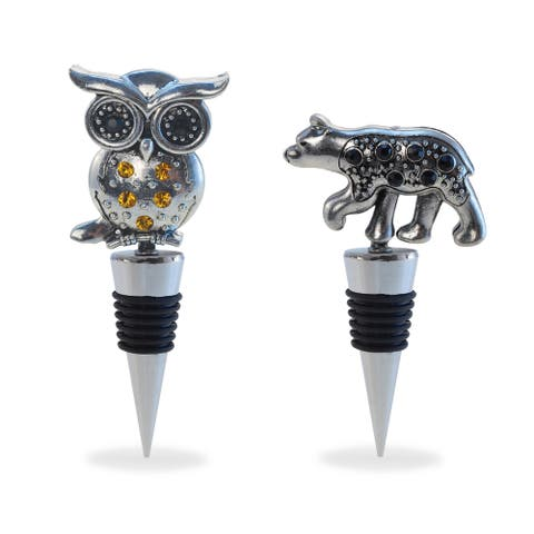 Puzzled Inc. Multicolored Metal Black Bear and Owl Wine Stopper Set