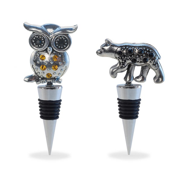 Puzzled Inc. Multicolored Metal Black Bear and Owl Wine Stopper Set. Opens flyout.