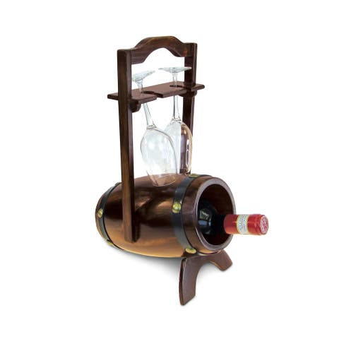 Wine Rack - Da Vinci - 1 Bottle & 2 Wine Glasses Wooden Holder