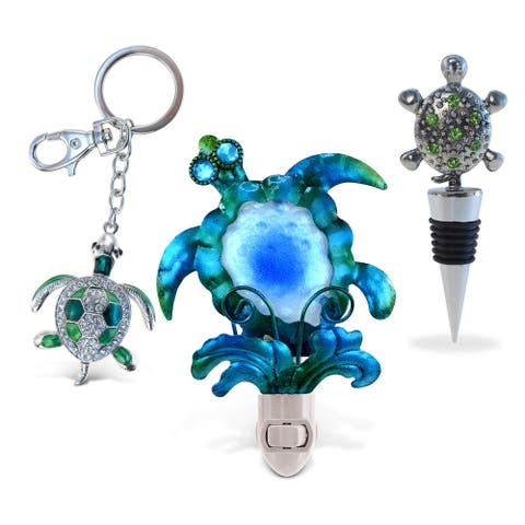 Puzzled Inc. Multicolored Metal Sea Turtle Wine Stopper, Sparkling Charm, and Night Light (Set of 3)