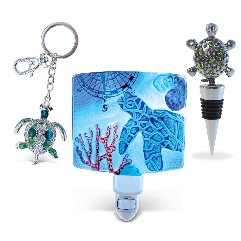 Puzzled Multicolored Metal Sea Turtle Wine Stopper, Spark...