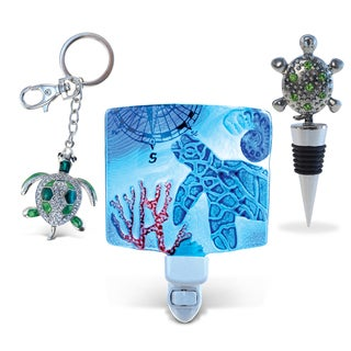 Multicolored Metal Sea Turtle Wine Stopper, Sparkling Charm, and Night Light (Set of 3)