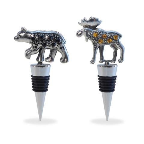 Puzzled Metal Black Bear and Moose Wine Stopper (Set of 2)