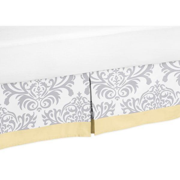 Sweet Jojo Designs Yellow and Gray Avery Toddler Bed Skirt