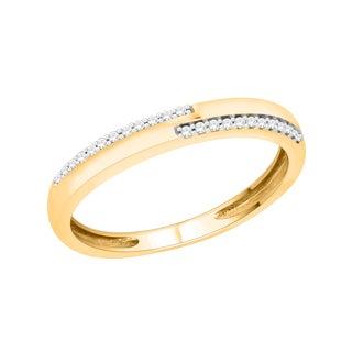 Trillion Designs 10k Yellow Gold 1/10ct TDW Diamond Cluster Wedding Band