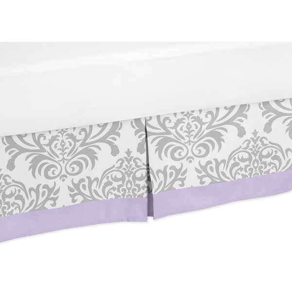 Sweet Jojo Designs Lavendar and Gray Elizabeth Toddler Bed Skirt