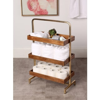 Kate and Laurel Hanne Walnut Wood/Gold Metal 3-tray Free-standing Shelf