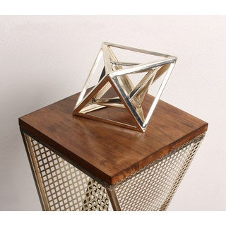 Kate and Laurel Indra Chrome-finished metal Geometric Desktop Paperweight Decorative Sculpture