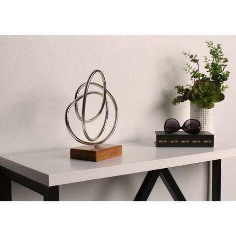 Kate and Laurel 'Keylana Metal Swirls' Silver Metal and Wood Desktop Decorative Standing Sculpture