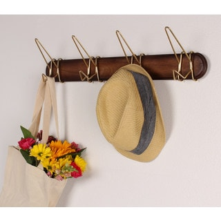 Johan Wood Coat Hook Rack with 4 Gold Metal Hooks