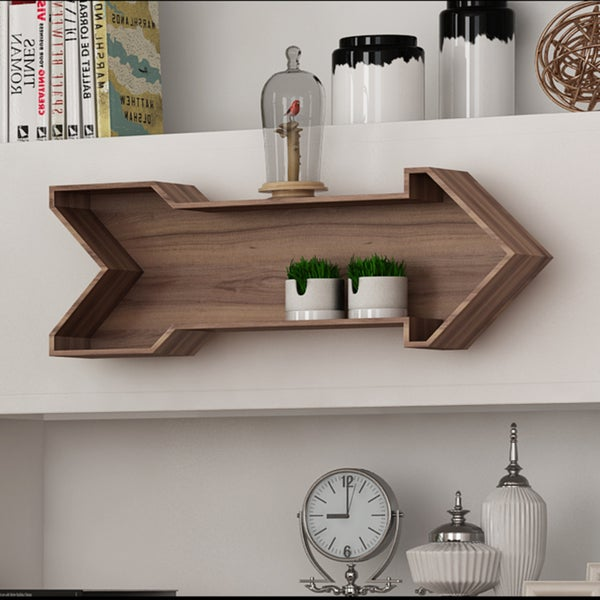Great LeLay Rustic Wood Arrow Decorative Wall Shelf