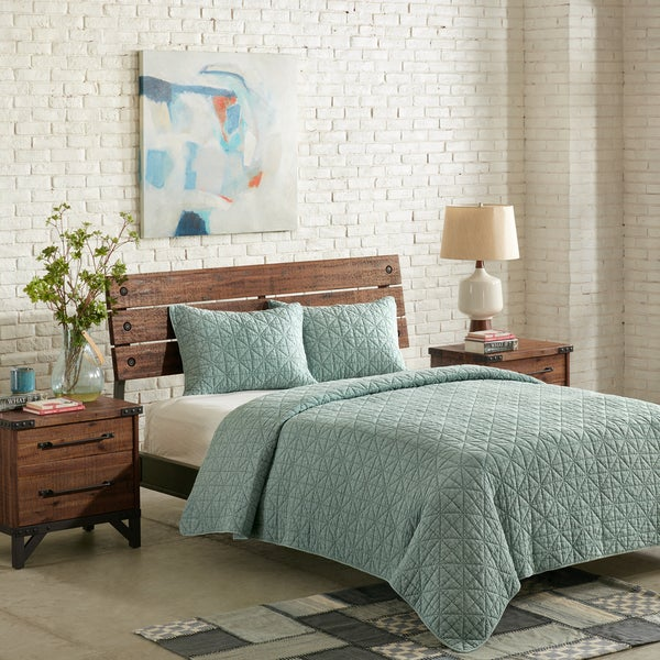 IINK+IVY Morris Aqua Cotton Solid Coverlet Set