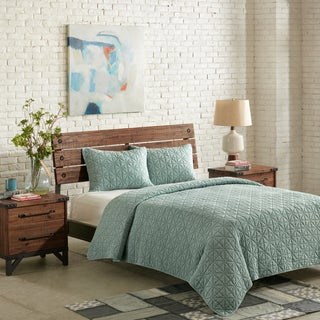 IINK+IVY Morris Aqua Cotton Solid Coverlet Set