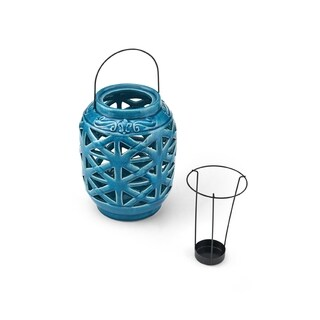Elements Teal Ceramic Mid Century Lantern Candleholder