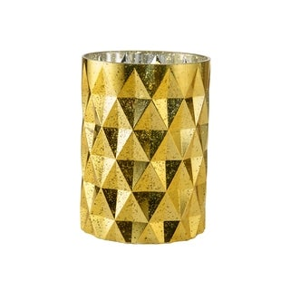 Elements Prism Gold-tone Glass Hurricane Candleholder
