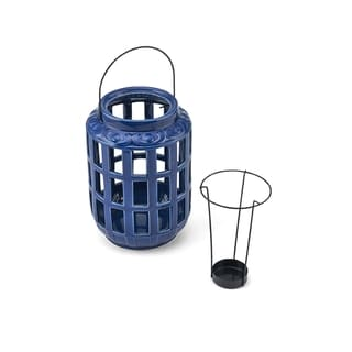 Elements Navy Blue Ceramic/Metal Window Pane Lantern