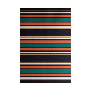 Multi-stripe Stripe Print Indoor, Outdoor Rug (4' x 6')