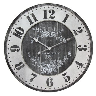 Infinity Instruments Re De L'Elise Charcoal Metal/Wood 26.75-inch Round Clock