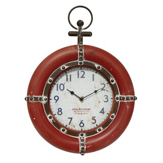 Infinity Instruments Regie Autonome Red Metal, Wood, and Glass 16-inch Round Clock