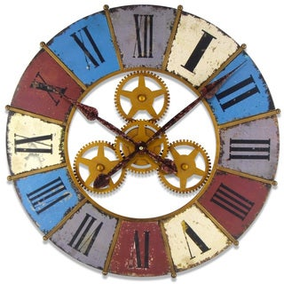 Infinity Instruments 23.625-inch Round Kaleidoscope with Gears Clock