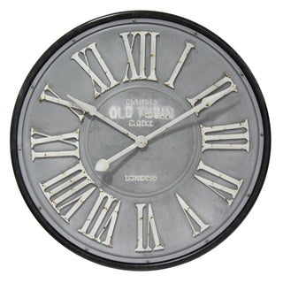 Infinity Instruments White, Black, and Grey Metal 30.5-inch Round Riveted Roman Numeral Clock