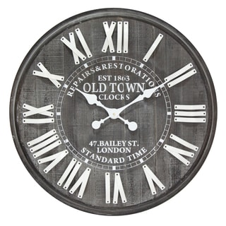 Infinity Instruments Old Town Black/White Wood 27-inch Round Clock