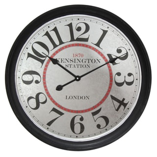 Infinity Instruments Kensington Station Black/White Metal/Wood 23.625-inch Round Clock