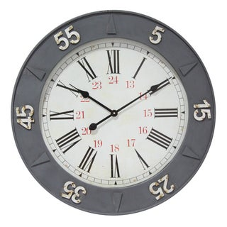Infinity Instruments Metal 26.75-inch Round 24-hour Clock