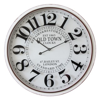 Infinity Instruments 'Bailey Street' Off-white Glass/Metal/Wood 31.5-inch Round Clock
