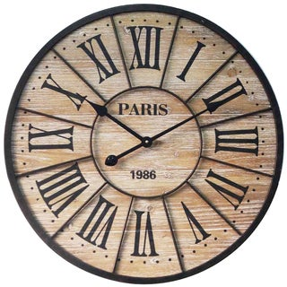 Infinity Instruments Paris Wood/Metal 23.75-inch Round Wall Clock