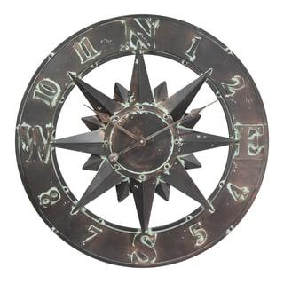 Infinity Instruments Copper Metal 26.75-inch Round Cardinal Sunburst Clock