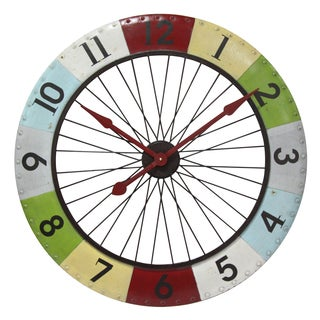 Infinity Instruments Colorwheel Metal 31.5-inch Round Spoke Clock