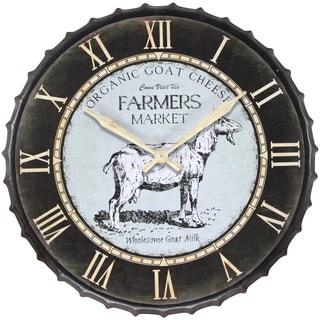 Infinity Instruments Black/Off-white Metal 24-inch Round Goat Market Clock