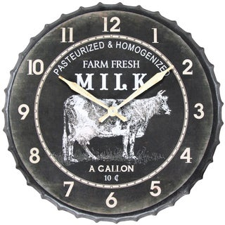 Infinity Instruments Metal 24-inch Round Fresh Milk Clock