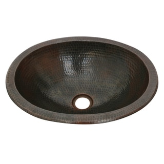 Unikwities Oval Undermount Oil-rubbed Bronze Finish Copper Sink