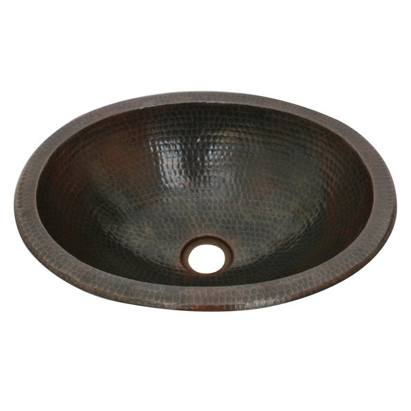 Unikwities 16 X 12 X 5 inch Oval Drop In Copper Sink in Bronze Finish