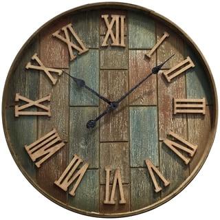 Infinity Instruments Beige Brick Finish Wood/Metal 24-inch Round Clock