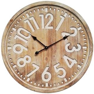 Infinity Instruments Beige Metal/Wood 27.5-inch Round Lumberjack Clock