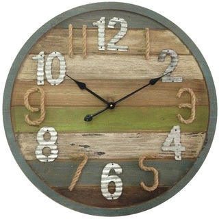 Infinity Instruments Multicolor Wood 27.5-inch Round Wall Clock