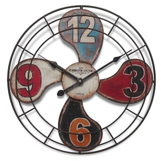 Infinity Instruments Multicolor Metal 15.75-inch Round Fan Wall Clock