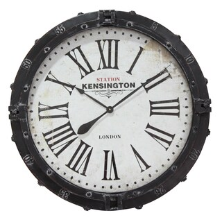 Infinity Instruments Kensington Station Black/White Metal/Wood 31-inch Round Clock