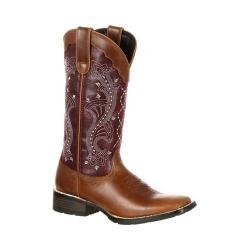 Women's Durango Boot DRD0133 12in Durango Mustang Boot Brown/Plum Full Grain Leathe/Faux Leather