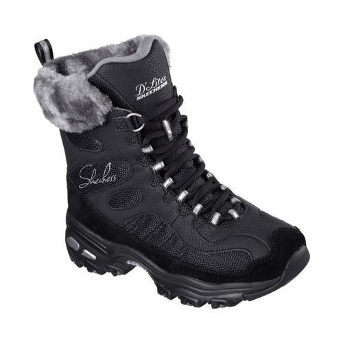 Women's Skechers D'Lites Chalet Lace Up Boot Black (US Wo...